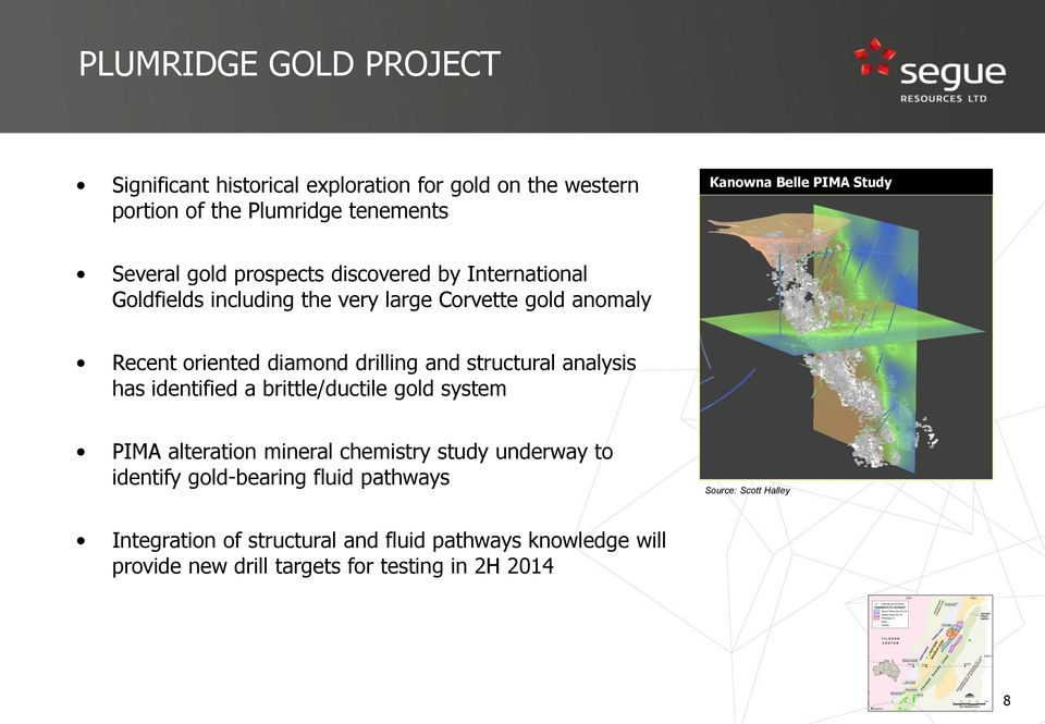 and structural analysis has identified a brittle/ductile gold system PIMA alteration mineral chemistry study underway to identify gold-bearing