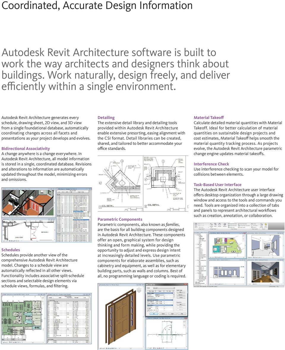 Autodesk Revit Architecture generates every schedule, drawing sheet, 2D view, and 3D view from a single foundational database, automatically coordinating changes across all facets and presentations