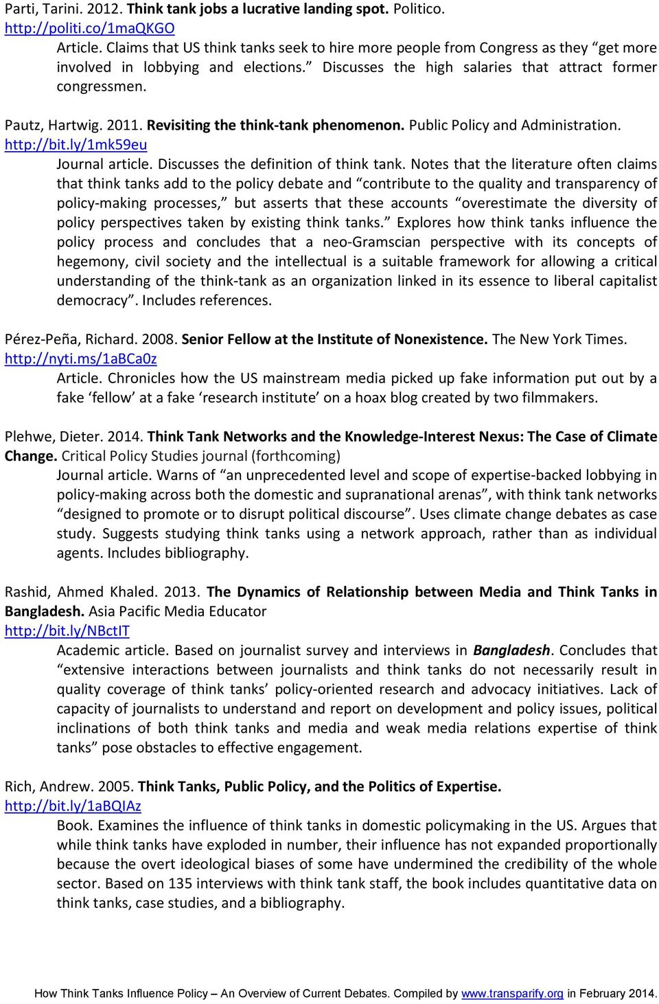 how think tanks influence policy an overview of current debates - pdf