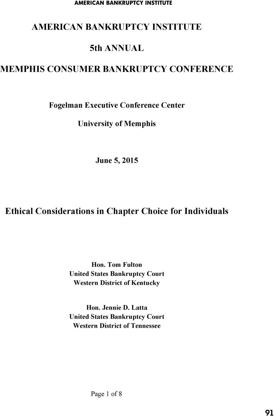 Considerations in Chapter Choice for Individuals Hon.