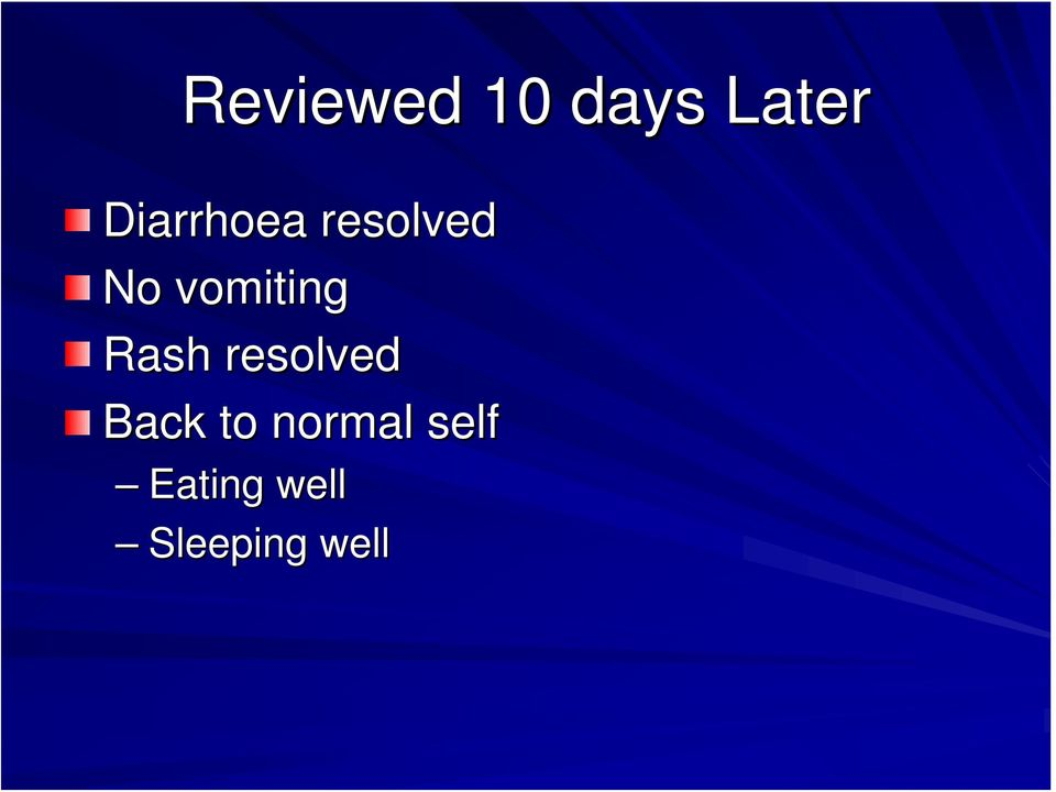 vomiting Rash resolved Back