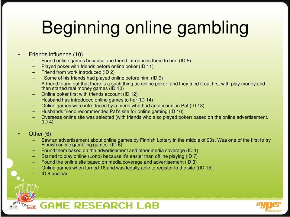 Some of his friends had played online before him (ID 9) A friend found out that there is a such thing as online poker, and they tried it out first with play money and then started real money games