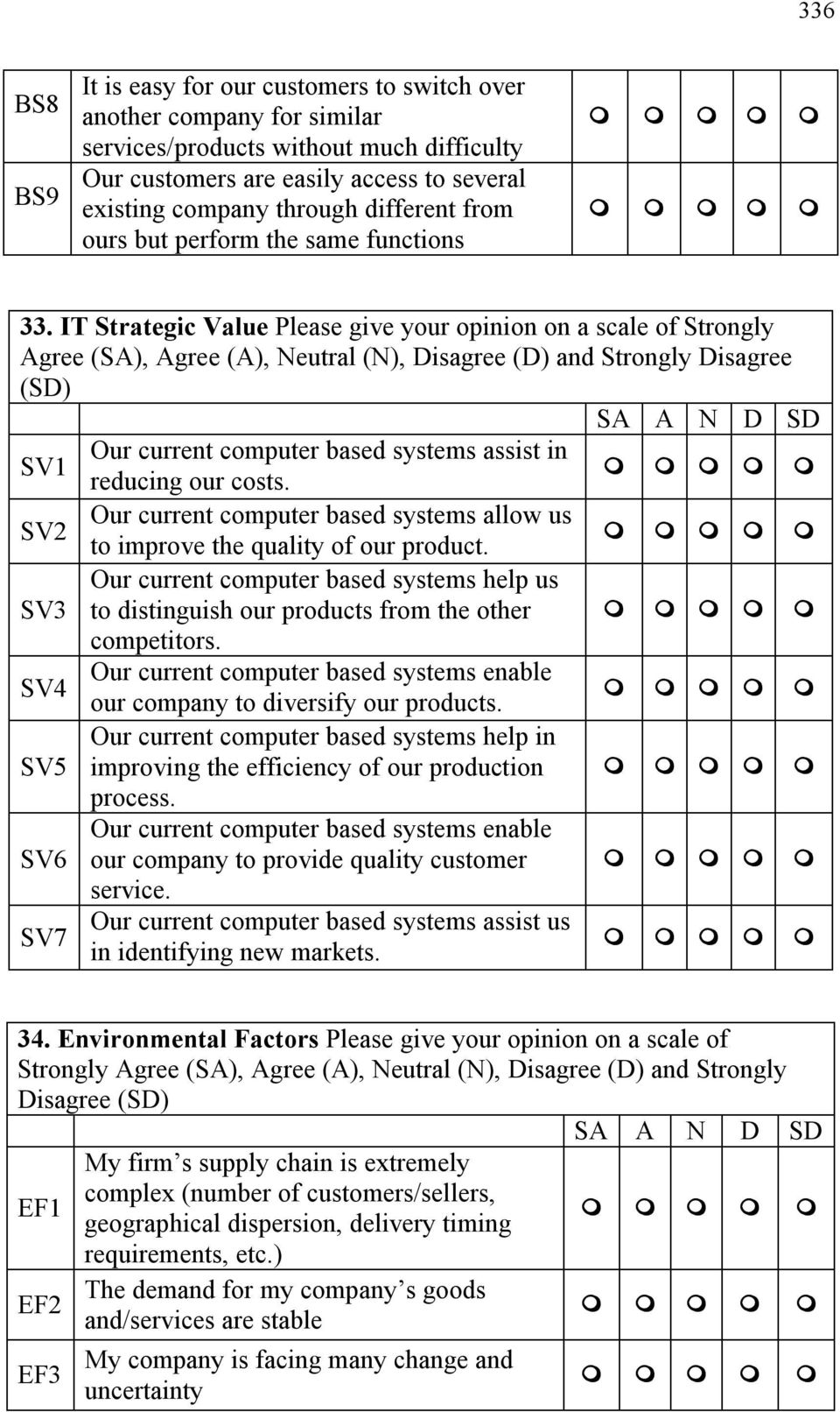 IT Strategic Value Please give your opinion on a scale of Strongly Agree (SA), Agree (A), Neutral (N), Disagree (D) and Strongly Disagree (SD) Our current computer based systems assist in SV1