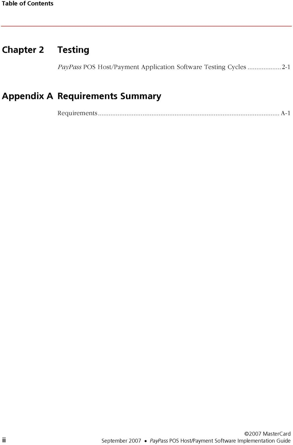 ..2-1 Appendix A Requirements Summary Requirements.