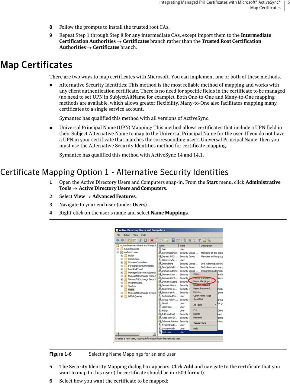 Certificates branch. There are two ways to map certificates with Microsoft. You can implement one or both of these methods.