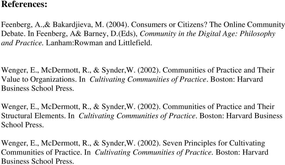 Boston: Harvard Business School Press. Wenger, E., McDermott, R., & Synder,W. (2002). Communities of Practice and Their Structural Elements. In Cultivating Communities of Practice.