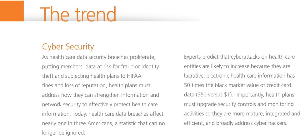 Today, health care data breaches affect nearly one in three Americans, a statistic that can no longer be ignored.