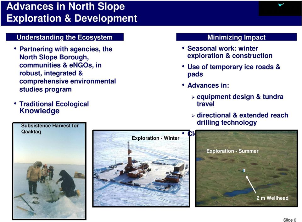 Exploration - Winter Minimizing Impact Seasonal work: winter exploration & construction Use of temporary ice roads & pads Advances in: