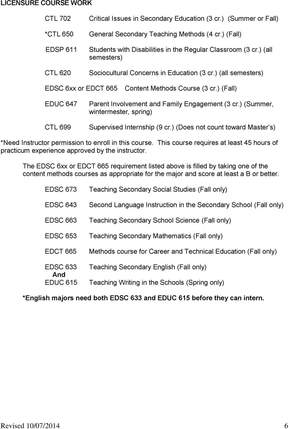 ) (Fall) EDUC 647 CTL 699 Parent Involvement and Family Engagement (3 cr.) (Summer, wintermester, spring) Supervised Internship (9 cr.