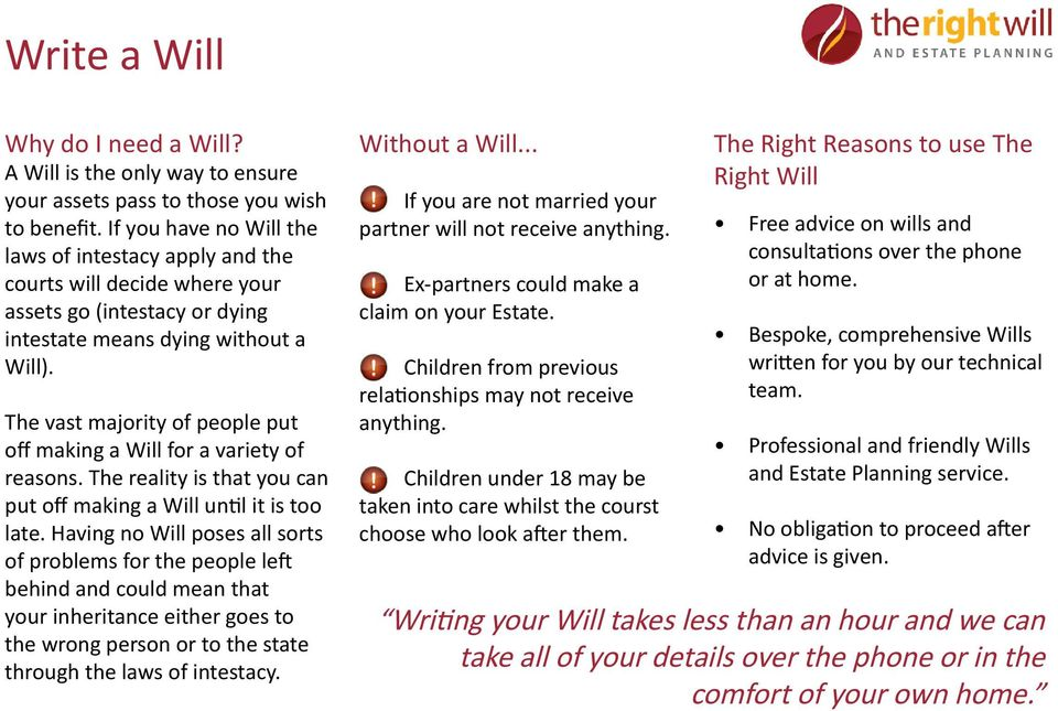 The vast majority of people put off making a Will for a variety of reasons. The reality is that you can put off making a Will until it is too late.