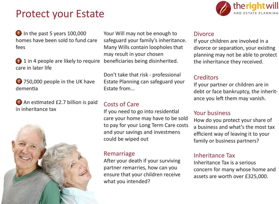 Don t take that risk - professional Estate Planning can safeguard your Estate from.