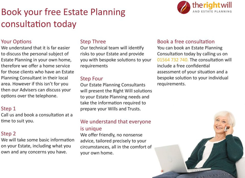 Step 1 Call us and book a consultation at a time to suit you. Step 2 We will take some basic information on your Estate, including what you own and any concerns you have.