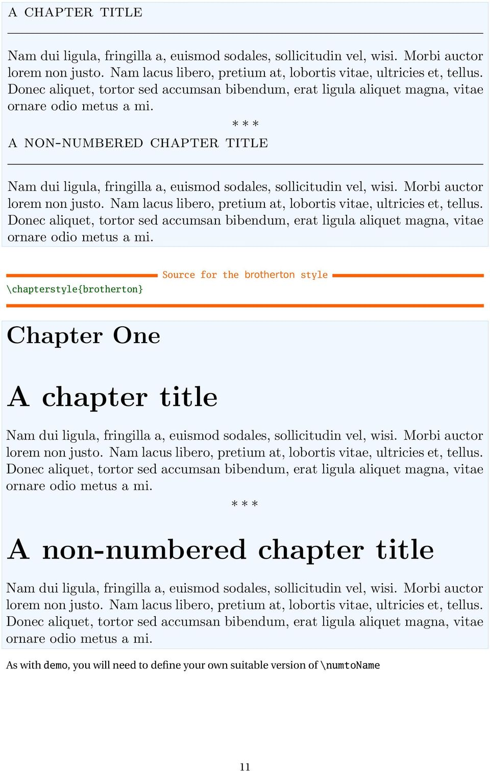 style Chapter One A chapter title As with demo, you