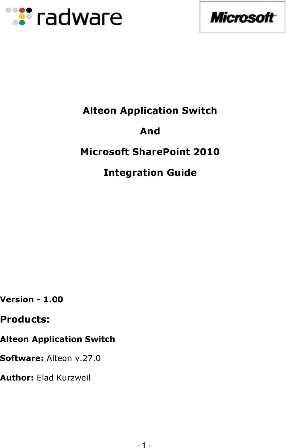1.00 Products: Alteon Application Switch