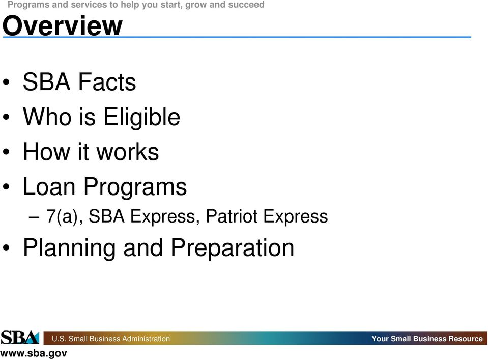 Programs 7(a), SBA Express,