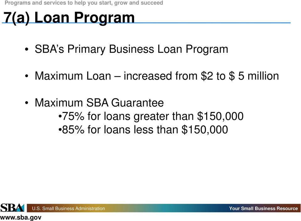 million Maximum SBA Guarantee 75% for loans
