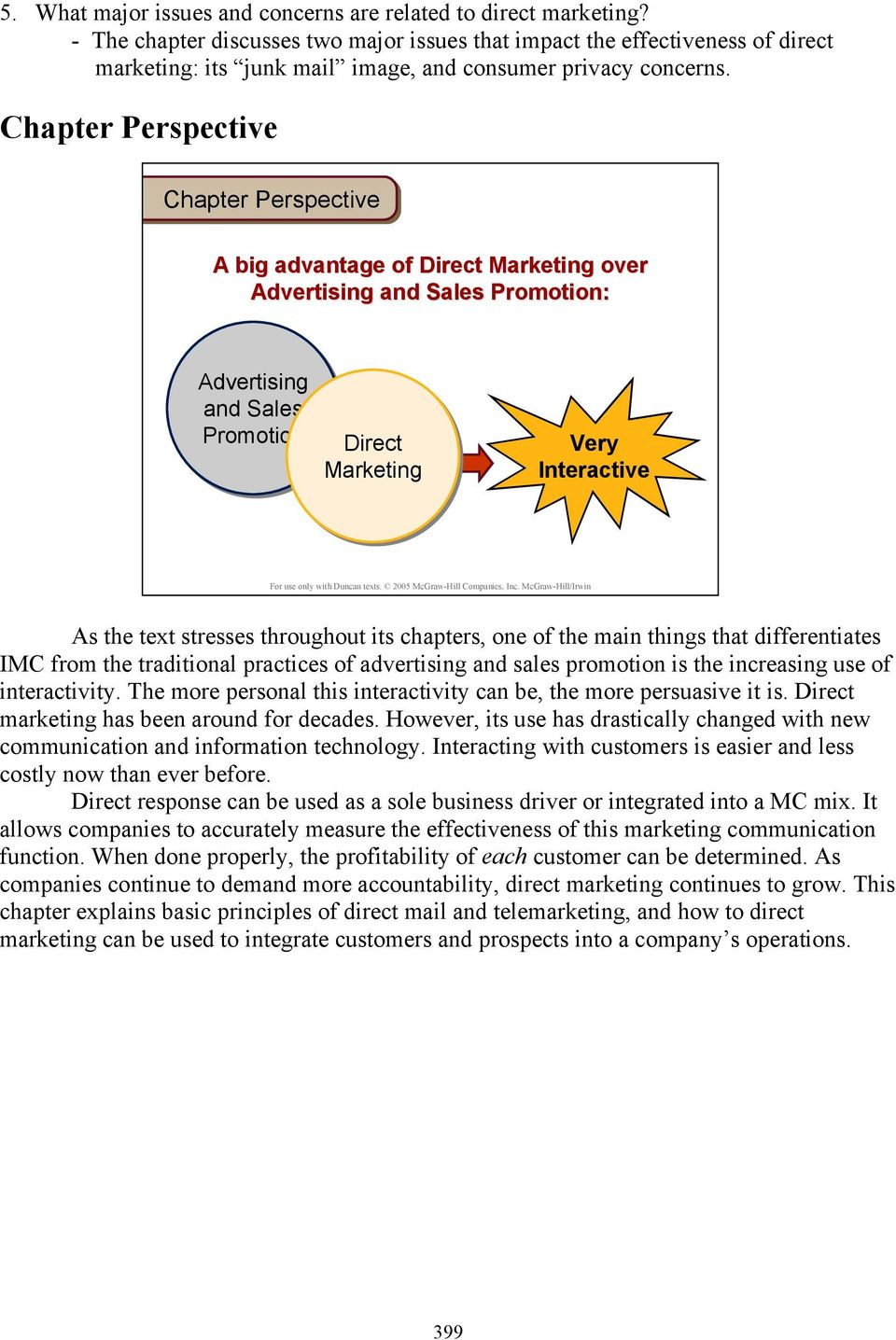Chapter Perspective Chapter Perspective A big advantage of Direct Marketing over Advertising and Sales Promotion: Advertising and Sales Promotion Direct Marketing Very Interactive As the text