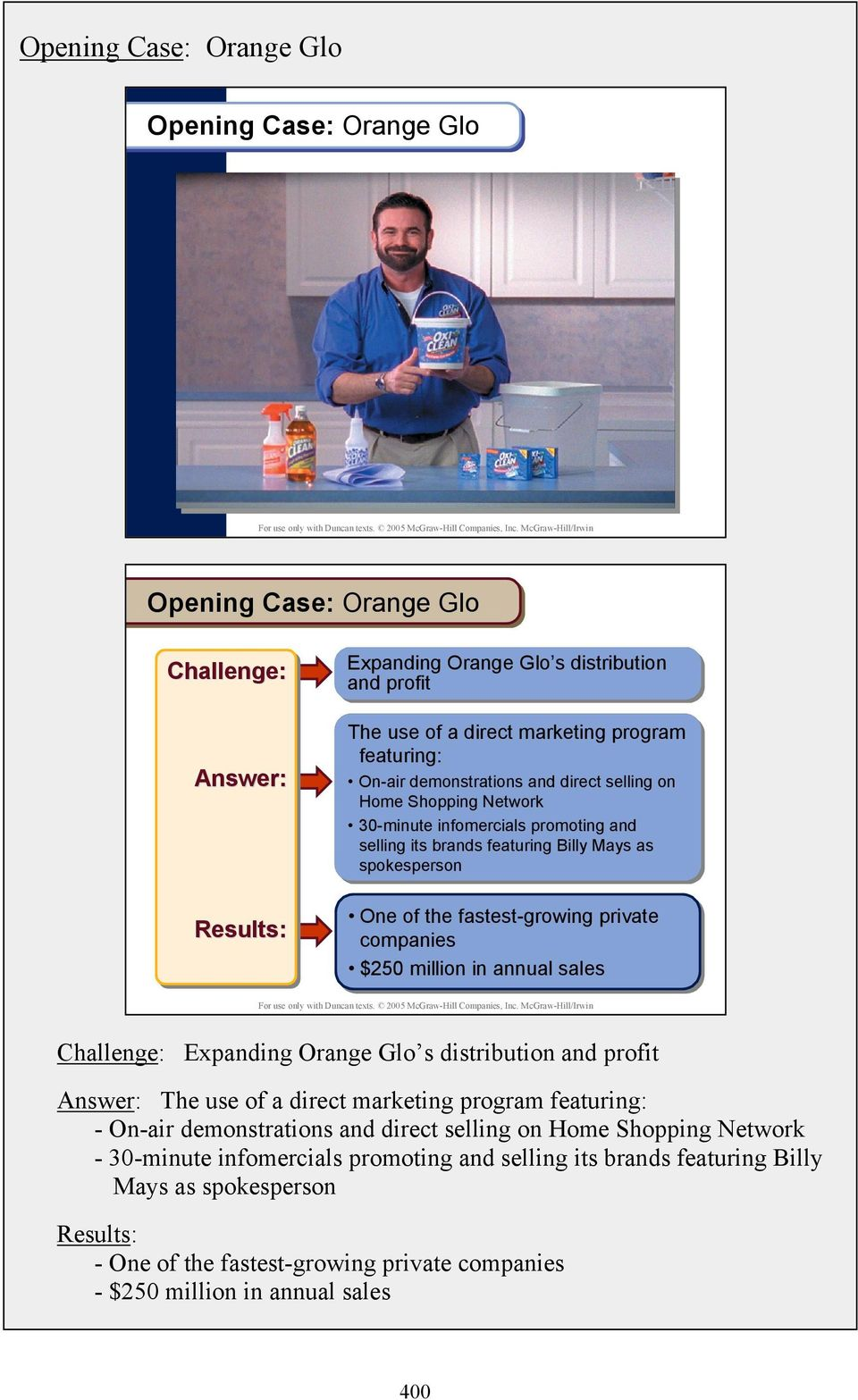 companies $250 million in annual sales Challenge: Expanding Orange Glo s distribution and profit Answer: The use of a direct marketing program featuring: - On-air demonstrations and direct selling on