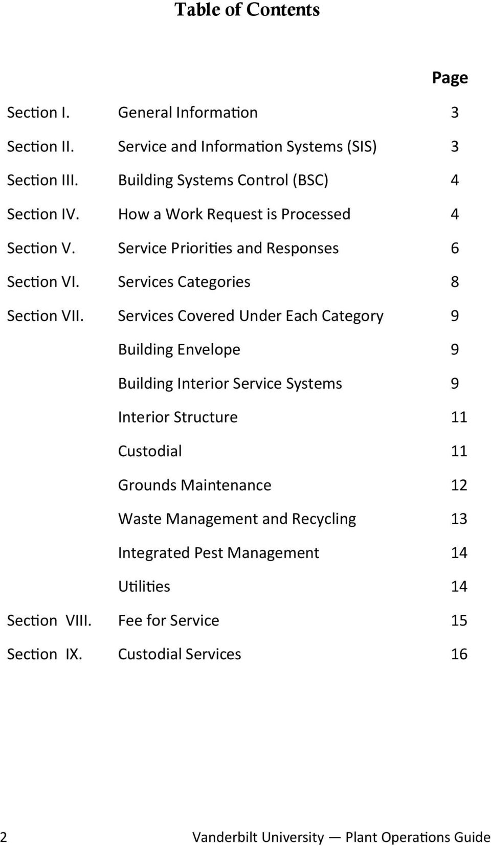 Services Categories 8 Section VII.