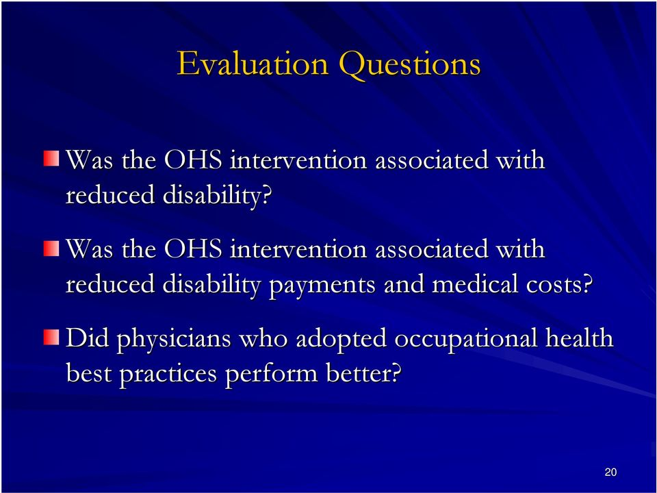 Was the OHS intervention associated with reduced disability