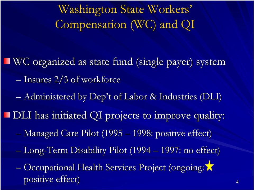 initiated QI projects to improve quality: Managed Care Pilot (1995 1998: positive effect)