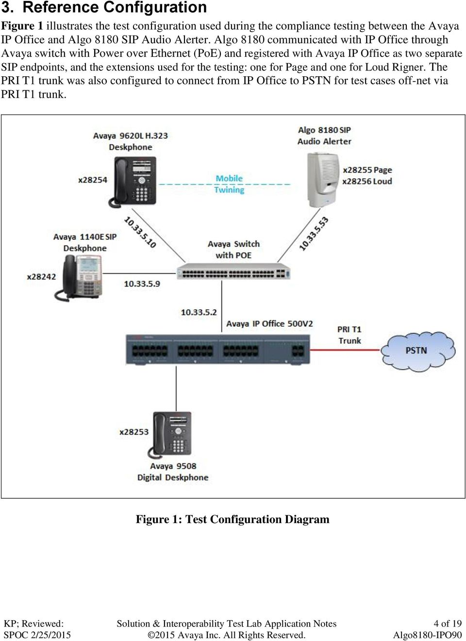 Algo 8180 communicated with IP Office through Avaya switch with Power over Ethernet (PoE) and registered with Avaya IP Office as two