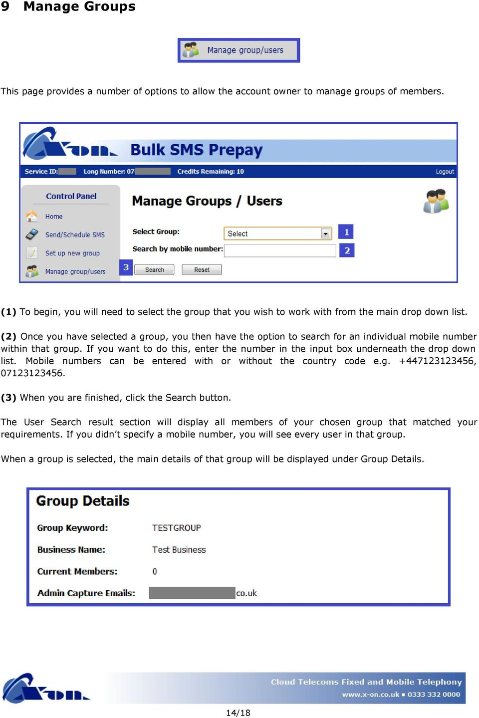(2) Once you have selected a group, you then have the option to search for an individual mobile number within that group.
