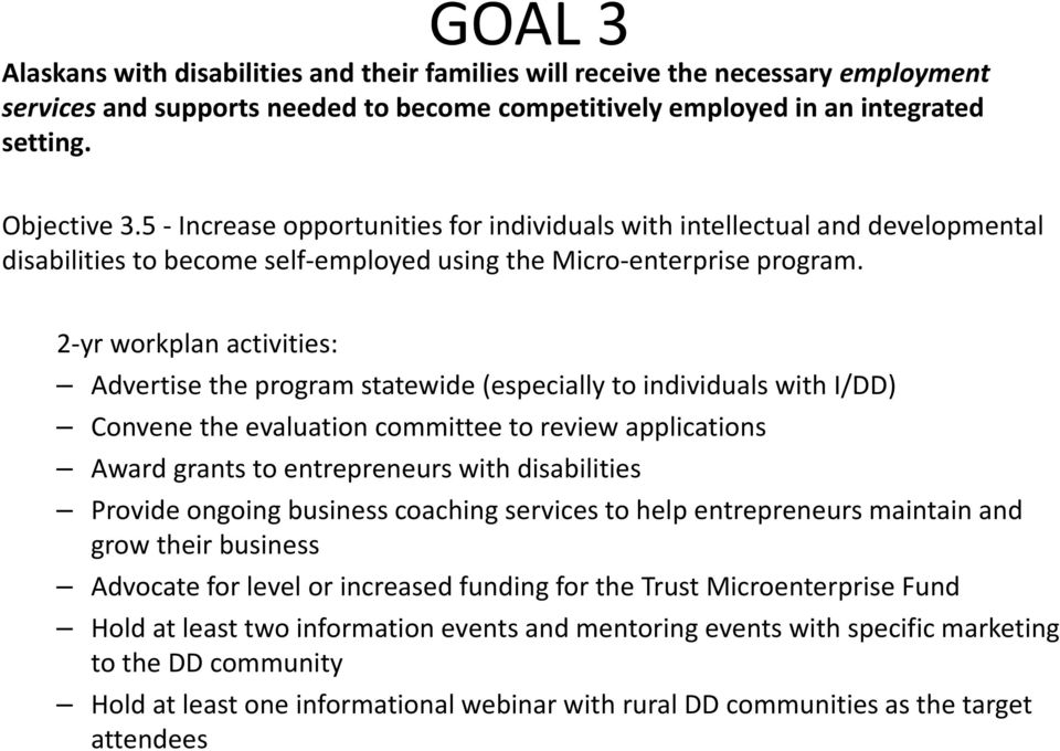Advertise the program statewide (especially to individuals with I/DD) Convene the evaluation committee to review applications Award grants to entrepreneurs with disabilities Provide ongoing business