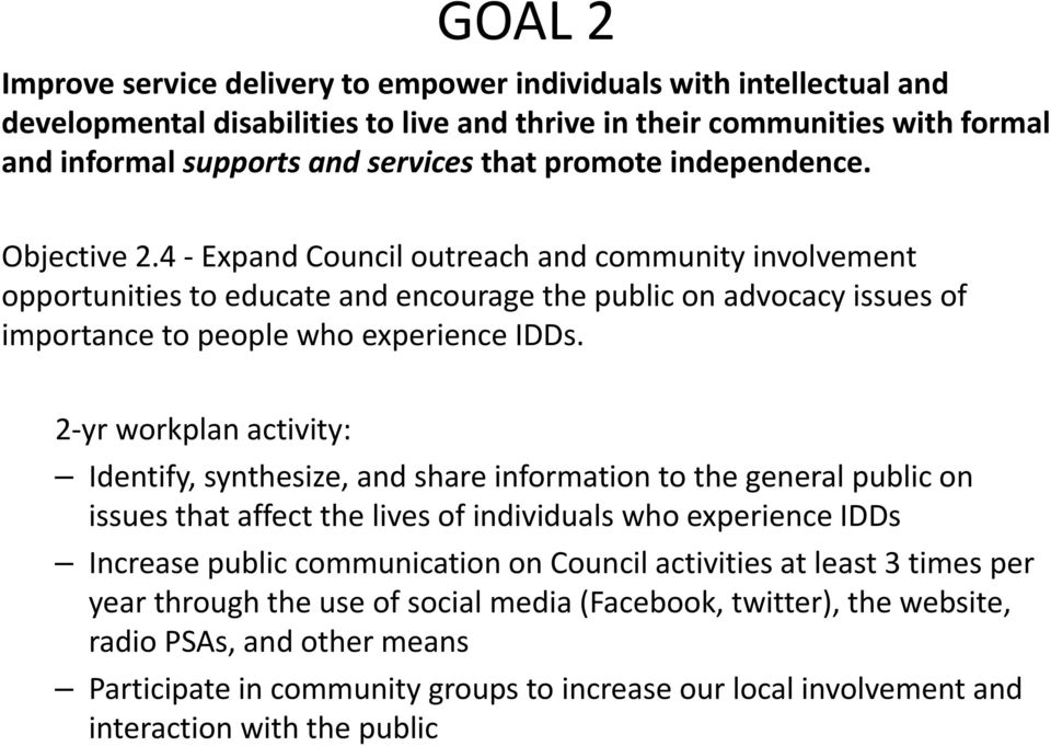 2 yr workplan activity: Identify, synthesize, and share information to the general public on issues that affect the lives of individuals who experience IDDs Increase public communication on Council