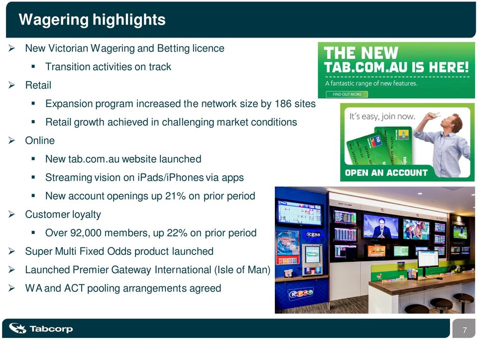 au website launched Streaming vision on ipads/iphones via apps New account openings up 21% on prior period Customer loyalty Over