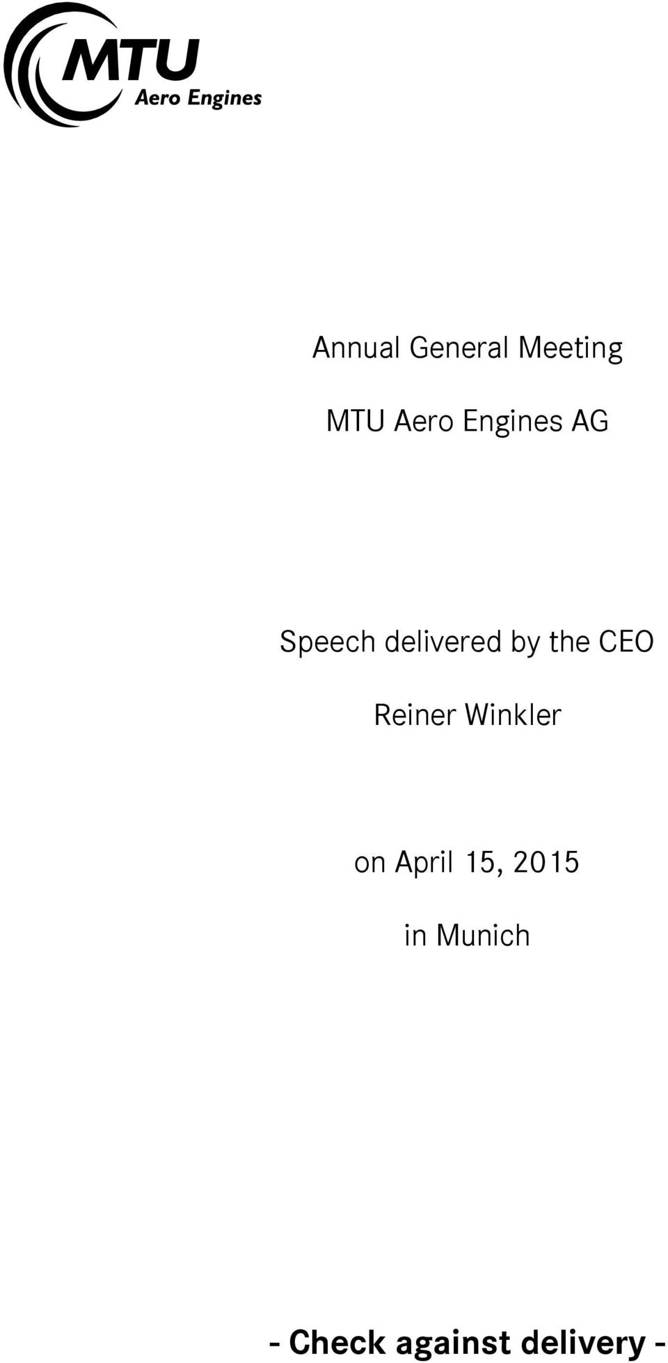 CEO Reiner Winkler on April 15,