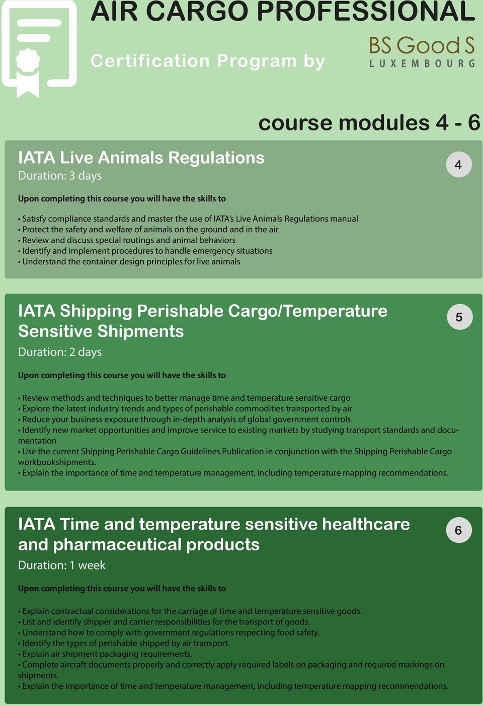 Understand the container design principles for live animals IATA Shipping Perishable Cargo/Temperature Sensitive Shipments Duration: 2 days 5 Review methods and techniques to better manage time and