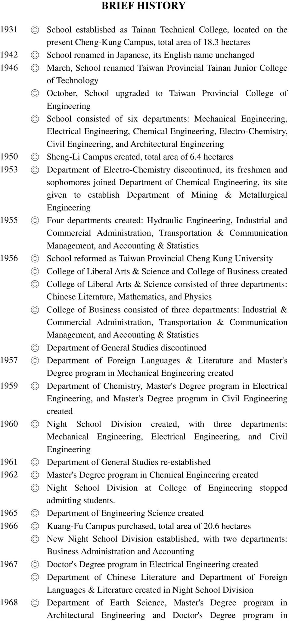 College of School consisted of six departments: Mechanical, Electrical, Chemical, Electro-Chemistry, Civil, and Architectural 1950 Sheng-Li Campus, total area of 6.