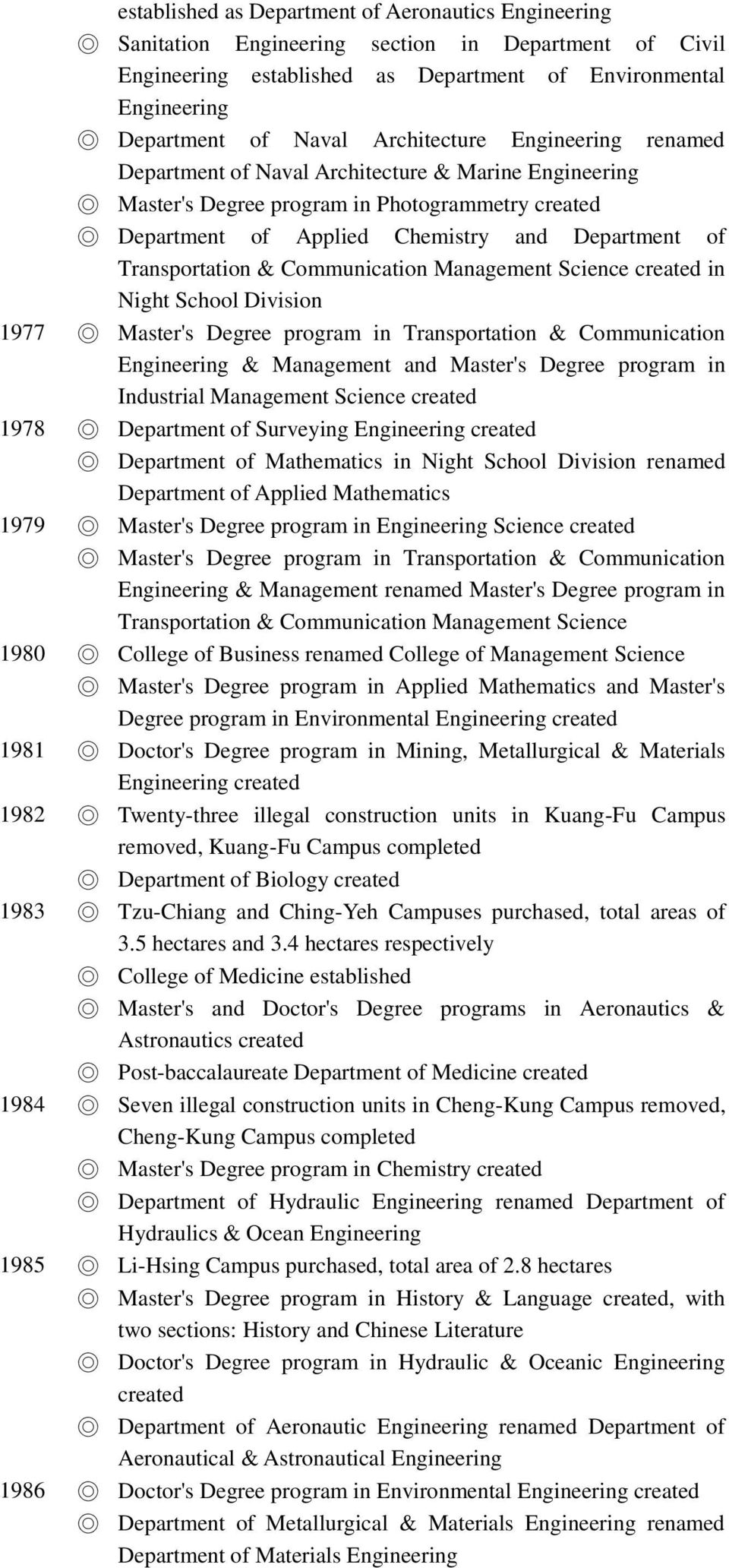 program in Transportation & Communication & Management and Master's Degree program in Industrial Management Science 1978 Department of Surveying Department of Mathematics in Night School Division