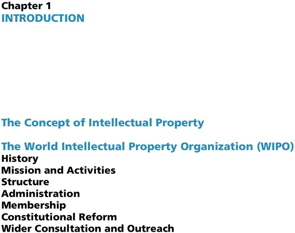 (WIPO) History Mission and Activities Structure