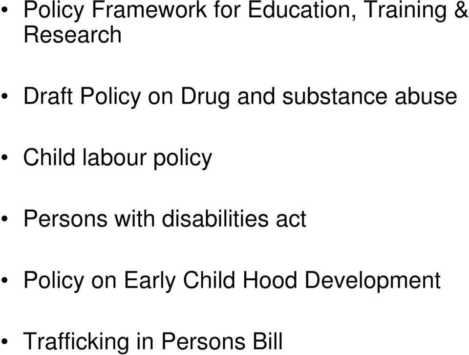 labour policy Persons with disabilities act Policy