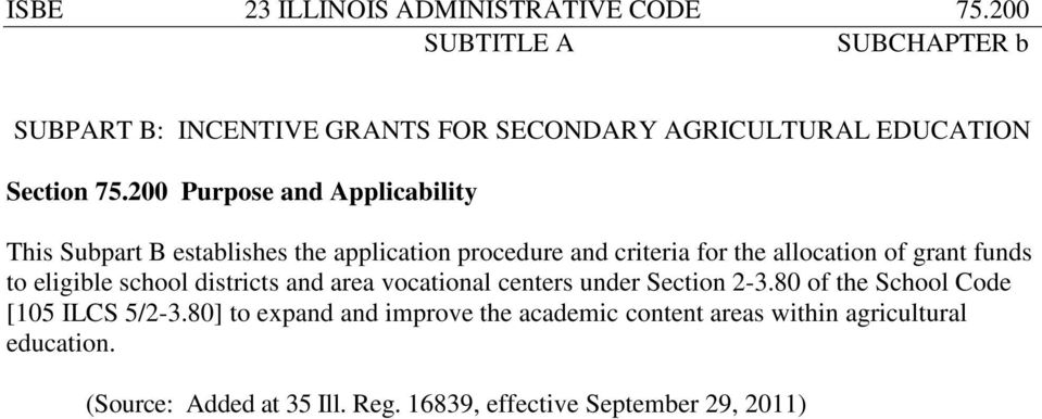 funds to eligible school districts and area vocational centers under Section 2-3.80 of the School Code [105 ILCS 5/2-3.