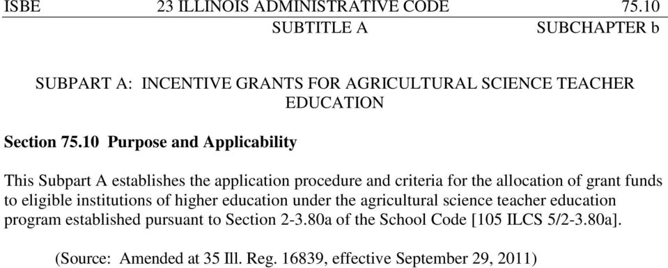 funds to eligible institutions of higher education under the agricultural science teacher education program established