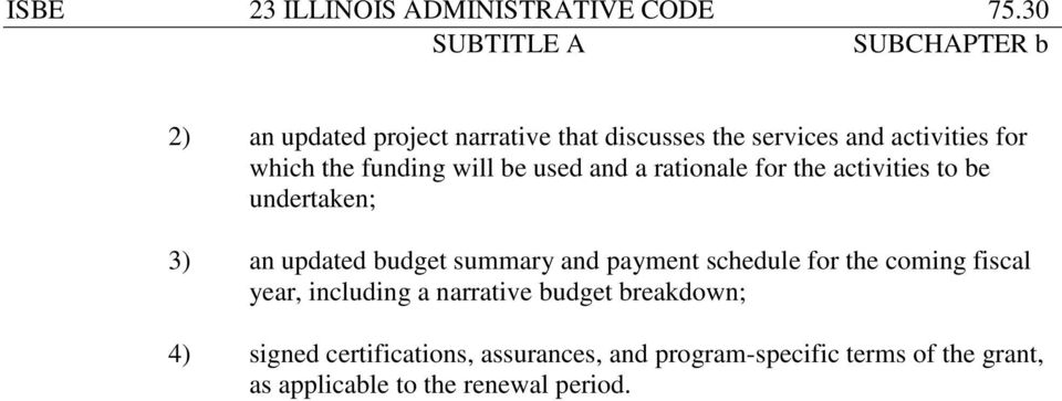 used and a rationale for the activities to be undertaken; 3) an updated budget summary and payment schedule
