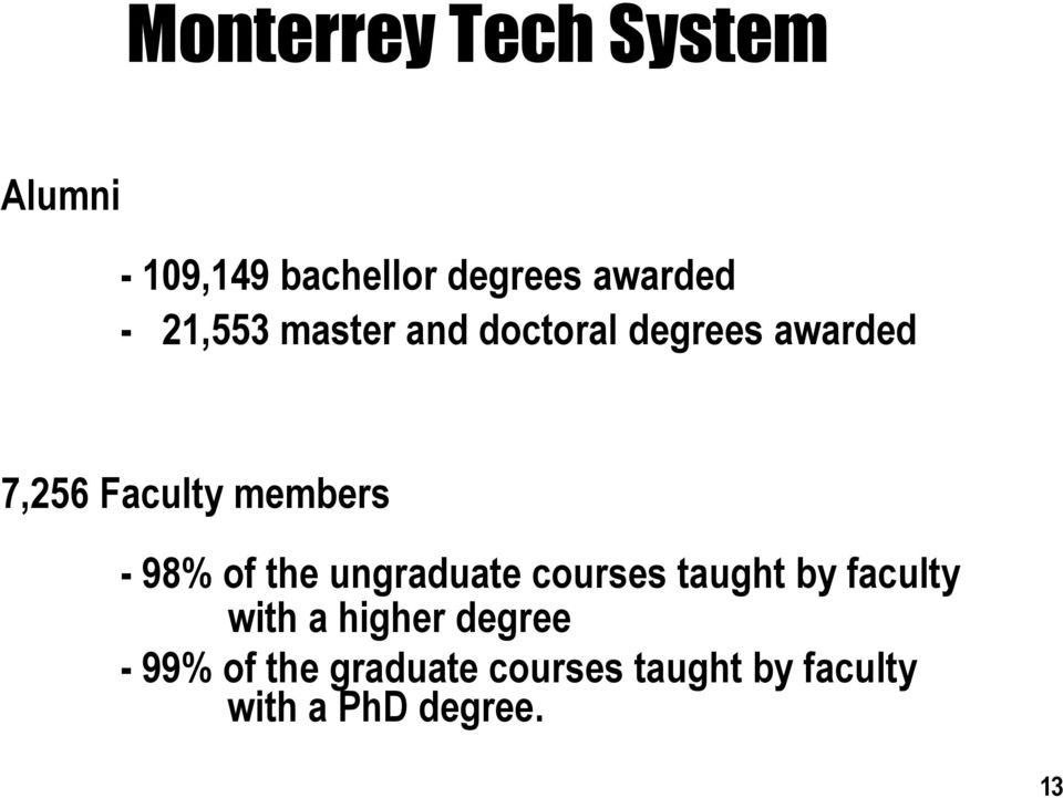 98% of the ungraduate courses taught by faculty with a higher