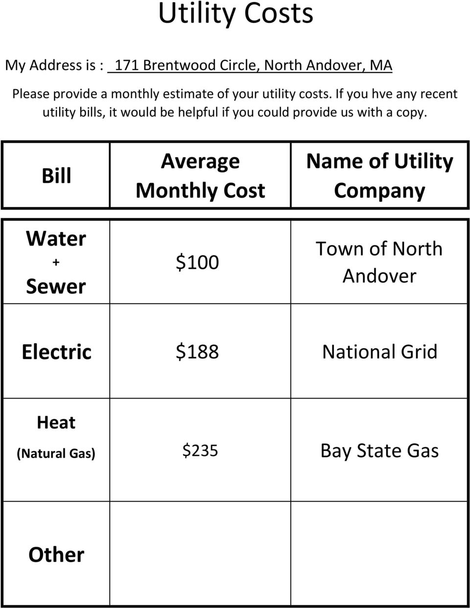 If you hve any recent utility bills, it would be helpful if you could provide us with a copy.
