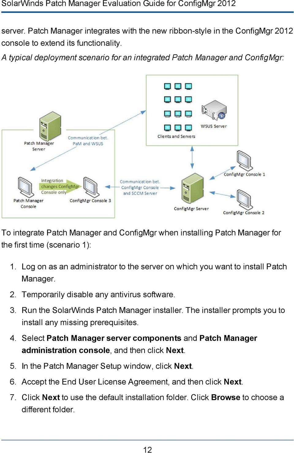 Log on as an administrator to the server on which you want to install Patch Manager. 2. Temporarily disable any antivirus software. 3. Run the SolarWinds Patch Manager installer.