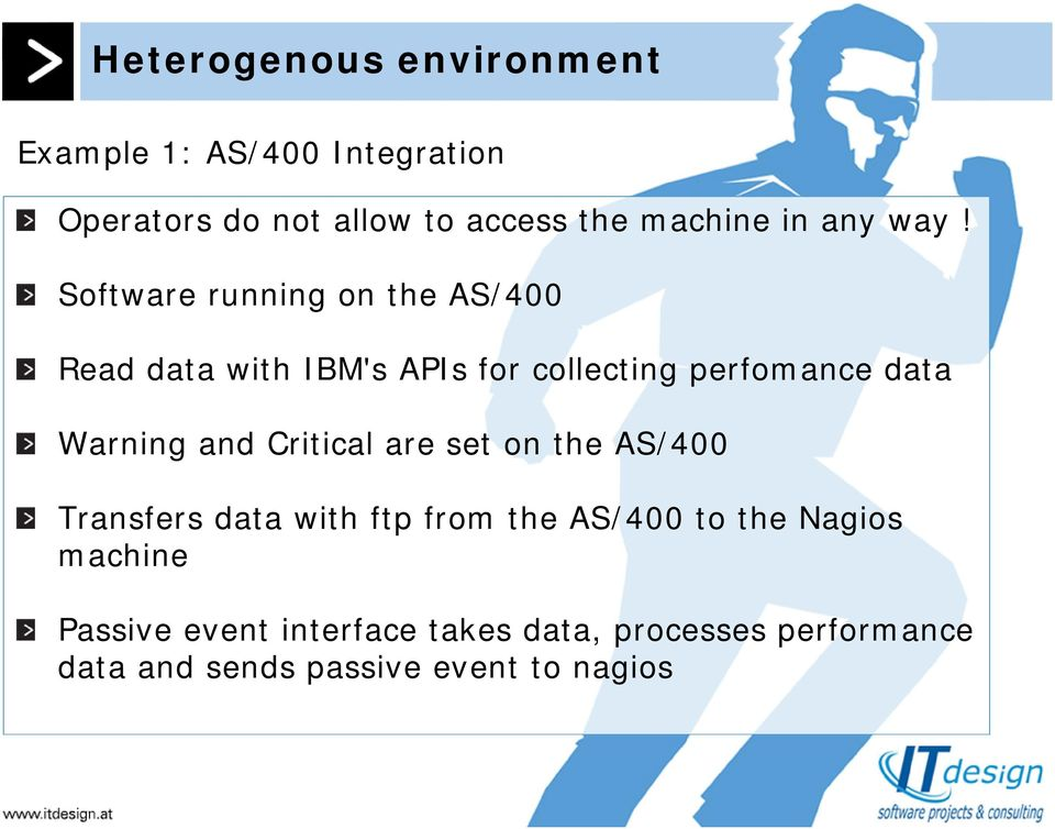 Software running on the AS/400 Read data with IBM's APIs for collecting perfomance data Warning and