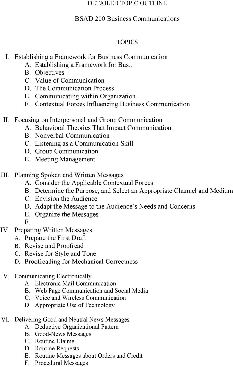 Behavioral Theories That Impact Communication B. Nonverbal Communication C. Listening as a Communication Skill D. Group Communication E. Meeting Management III. Planning Spoken and Written Messages A.
