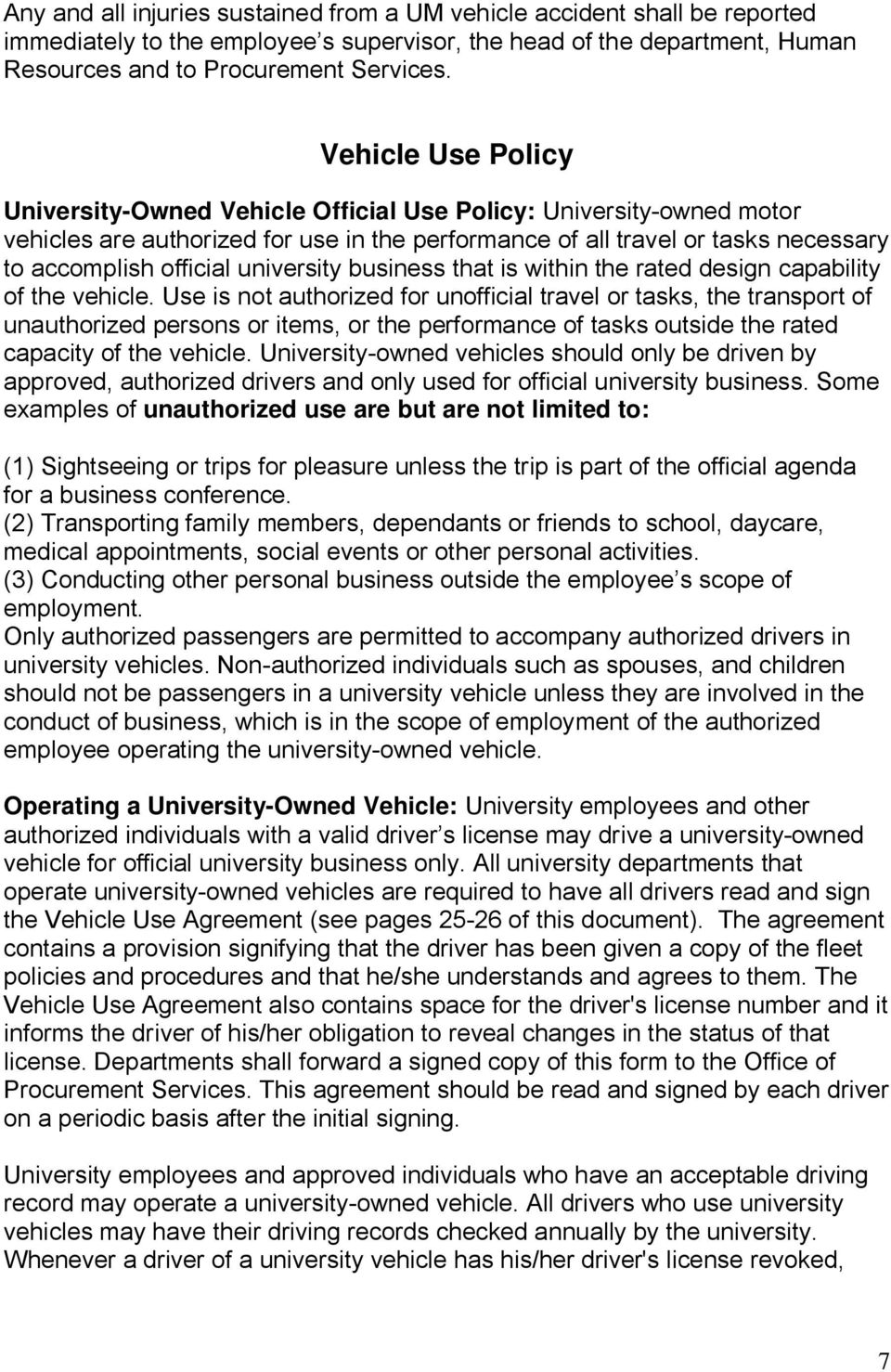university business that is within the rated design capability of the vehicle.