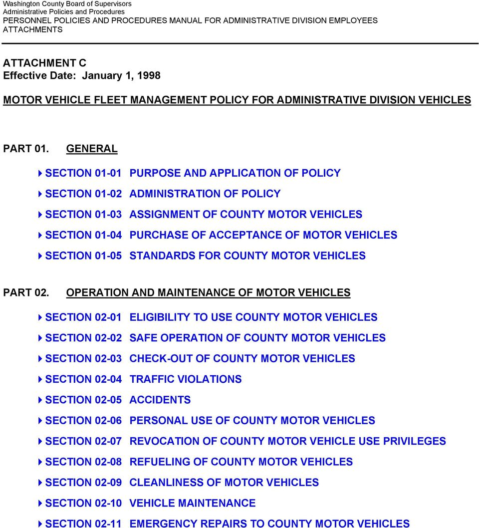 SECTION 01-05 STANDARDS FOR COUNTY MOTOR VEHICLES PART 02.