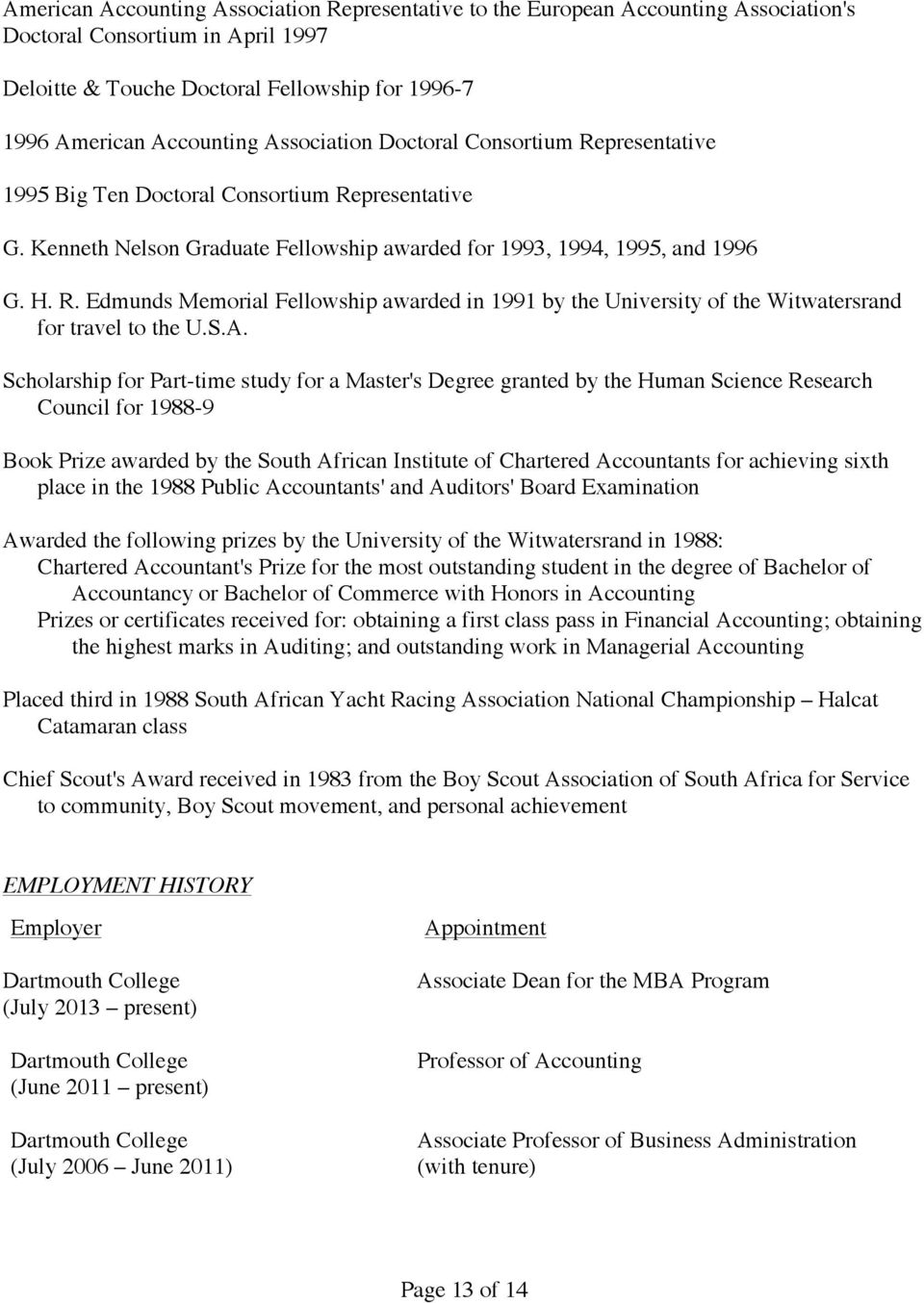 S.A. Scholarship for Part-time study for a Master's Degree granted by the Human Science Research Council for 1988-9 Book Prize awarded by the South African Institute of Chartered Accountants for