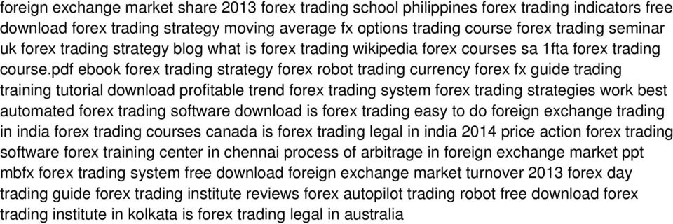 pdf ebook forex trading strategy forex robot trading currency forex fx guide trading training tutorial download profitable trend forex trading system forex trading strategies work best automated