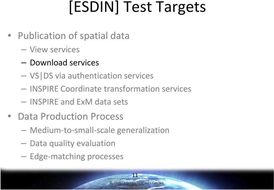 transformation services INSPIRE and ExM data sets Data Production Process