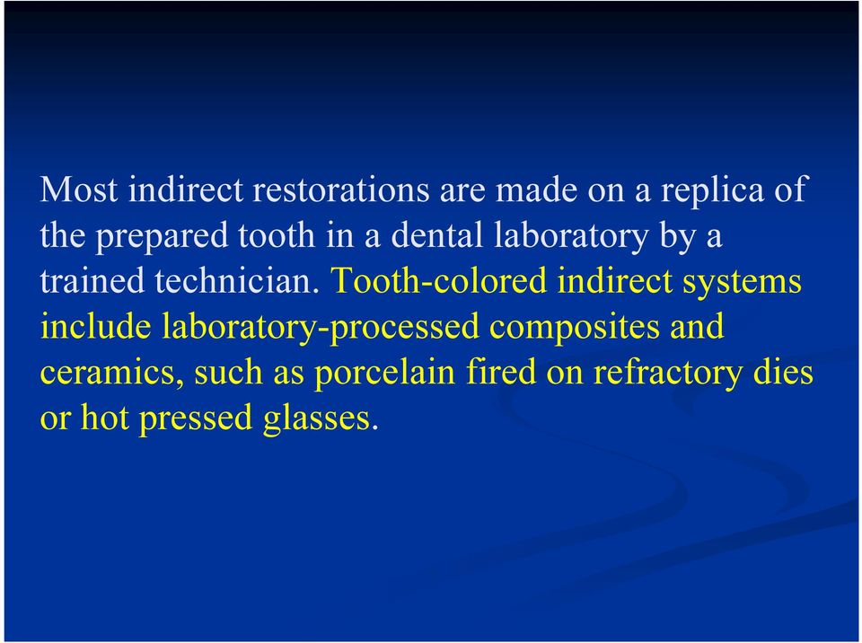 Tooth-colored indirect systems include laboratory-processed